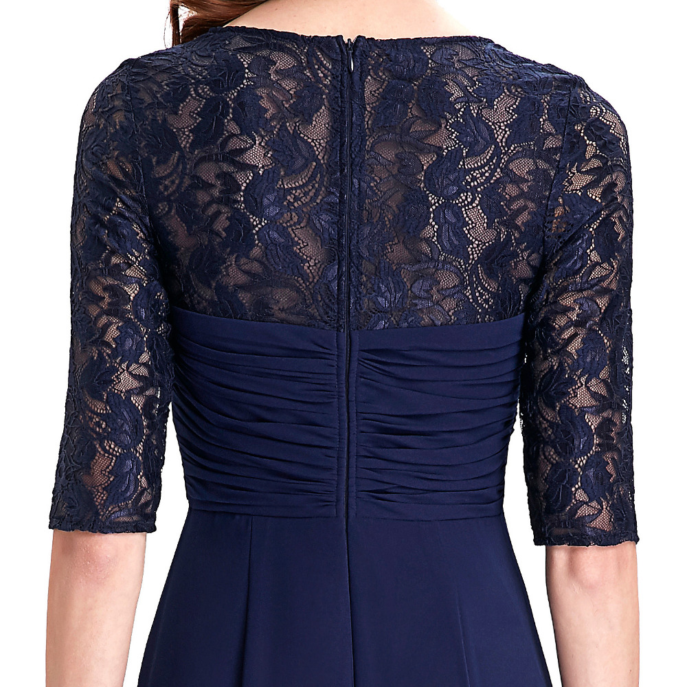 Real Photo Half Sleeve Evening Dress 2018 Ruffles Chiffon Mother of the Bride  Dresses Navy Blue Long Dress Evening Gowns 0136-in Evening Dresses from ... 0722d9b74207