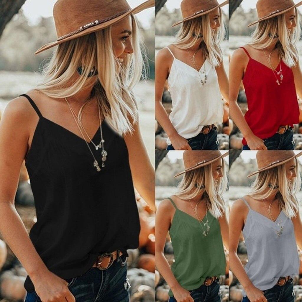 Female Summer Casual V Neck Vest Tank Shirt Ladies Sleeveless Tops Women's Sling Sleeveless Vest Top Camiseta De Tirantes Mujer