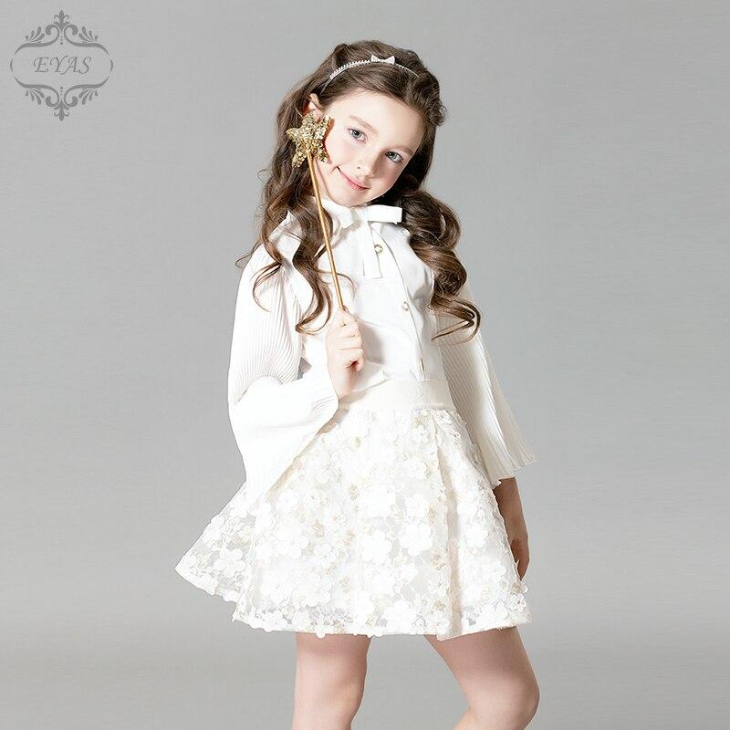 2016 Eyas Girl s clothes Spring Autumn Long sleeve Flare Sleeve Girl White Chiffon Shirt D6209