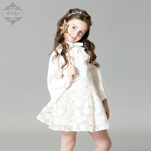 2016 Eyas Girl's clothes Spring Autumn Long-sleeve Flare Sleeve Girl White Chiffon Shirt D6209