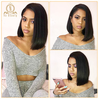 Glueless 13x6 Lace Bob Wig Straight Short Lace Front Human Hair Wigs For Women Pre Plucked With Baby Hair Indian Remy Black Hair