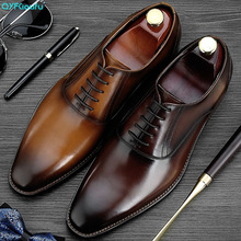 QYFCIOUFU 2019 Handmade Vintage Italian Brand Designer Shoes Party Wedding Office Male Dress Shoe Genuine Leather Mens Oxford