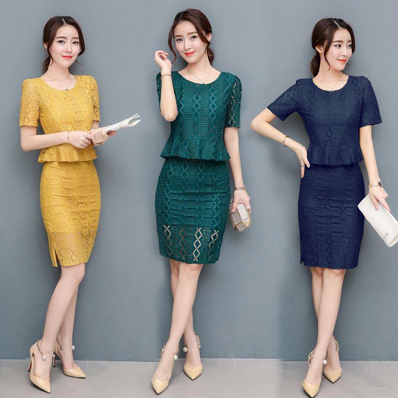 Graceful Summer Women Lace Skirt Suit Office Uniform Hollow Out Ruffles Crop Top 2 Piece Set Green Yellow Terno Feminino CC204