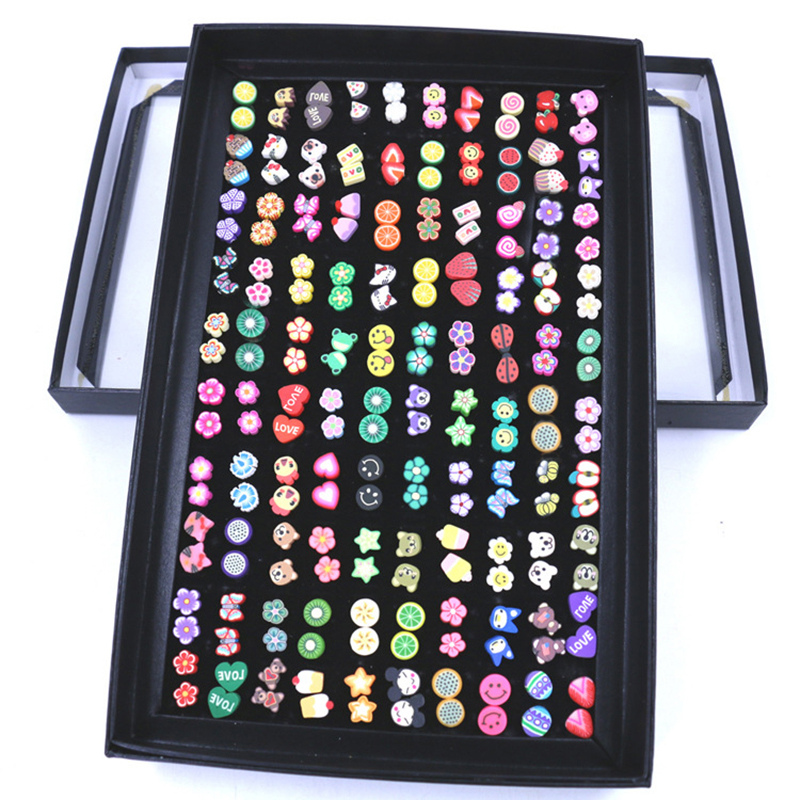 New Design 100 pairs polymer clay women cute earring stud sets carton earring set for girl four color round stud earring set 4pair
