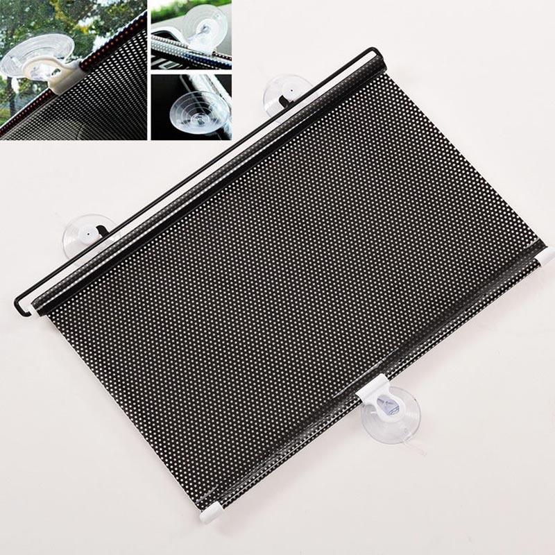 Retractable Car Auto Sun Shade Visor Rear Window Windshield Roller Blind With Suction Cup 125 x 40cm Black  Sun Shield