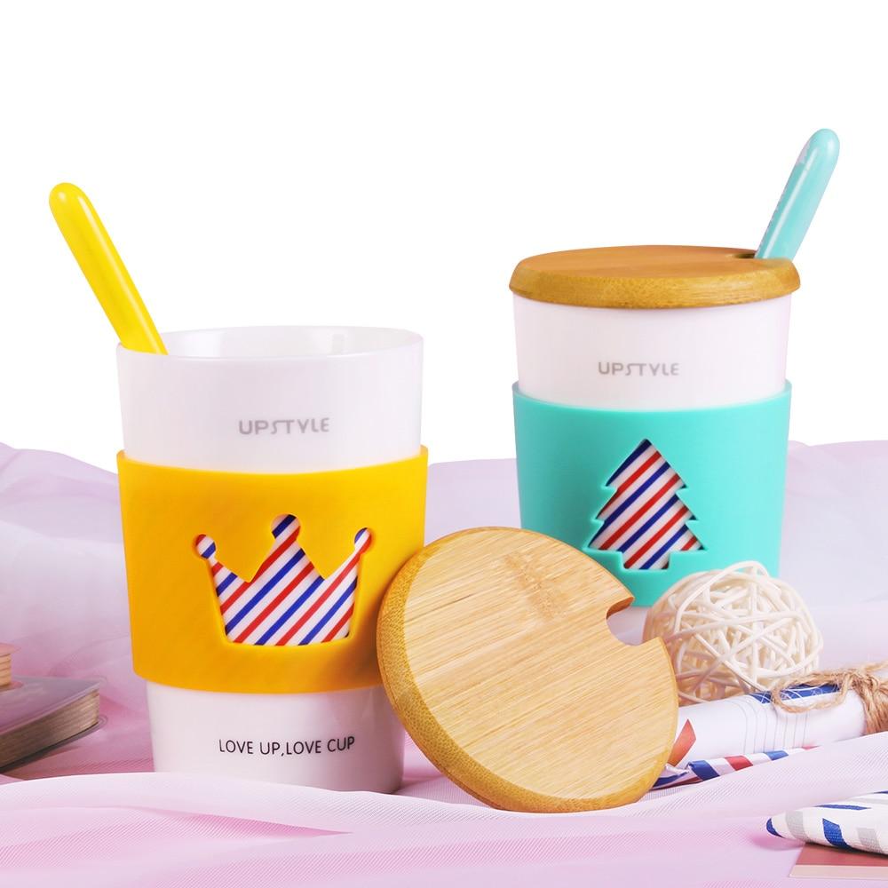 Charmful Coffee Mug Ceramic Cup Bamboo Sleeve Bamboo Sleeve Porcelaintravel Milk Cup Office Breakfast Tea Cup Mugs From Home Coffee Mug Ceramic Cup