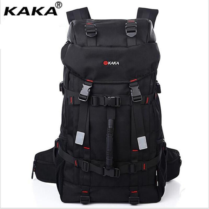 ФОТО KAKA New Men Double Shoulder Bag 55L Waterproof Women Backpack To Travel Brand Oxford Cloth Computer Knapsack A197