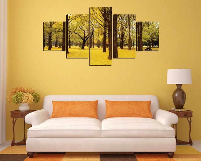 Free shipping,5 Pieces(No Frame) Fall Ginkgo Trees Autumn Japan ...