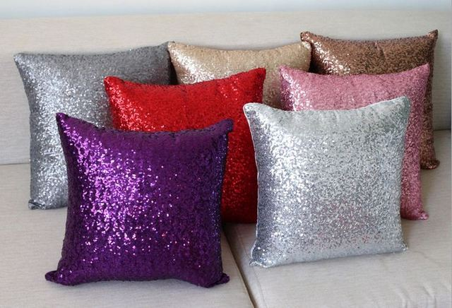 Sofa Silver Throw Pillows Decorative Cushions Cover Sequin Pillow Covers Purple Couch Pillowcase Solid Color Cojines