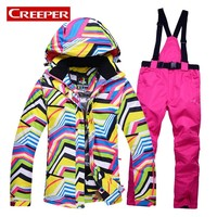 Top Brand Snow Jackets Women Ski Suit Outdoor Sports Skiing Jackets Pants Sets Windproof Winter Thermal