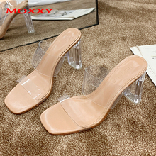 2019 Clear Heels Slippers Women Sandals Summer Shoes Woman Transparent Slippers High Heels Pumps Wedding Sandal zapatos de mujer