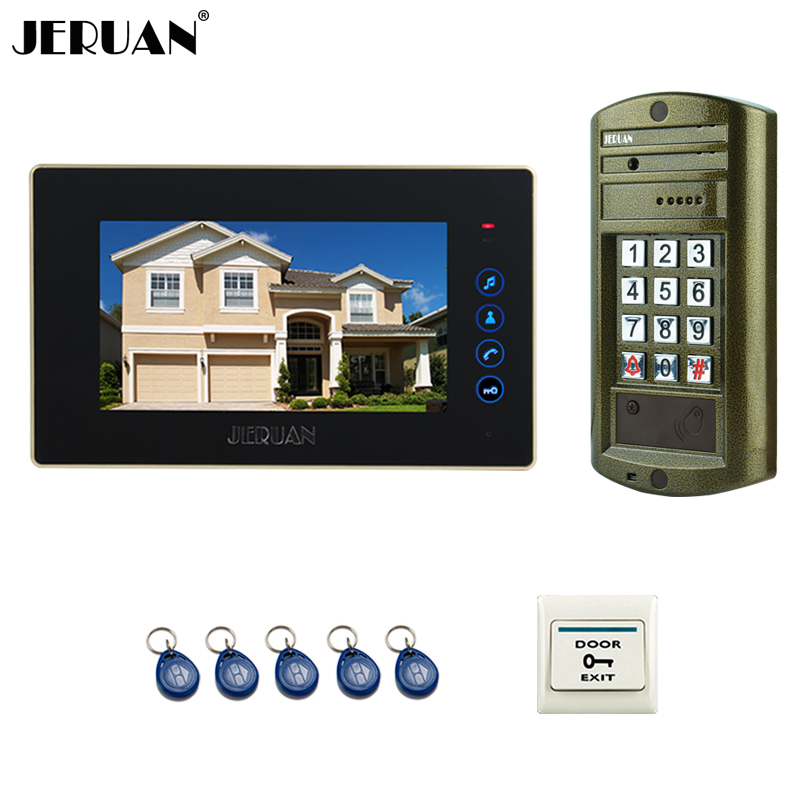 JERUAN Wired 7`` touch key Video Intercom Door Phone System kit Metal panel waterproof password keypad HD Mini Camera jeruan wired 7 touch key video doorphone intercom system kit waterproof touch key password keypad camera 180kg magnetic lock