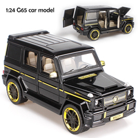 1:24 Diecast big Pull back sound and light Alloy Vehicle Children Toys BRABUS AMG G65 car model collectable gifts