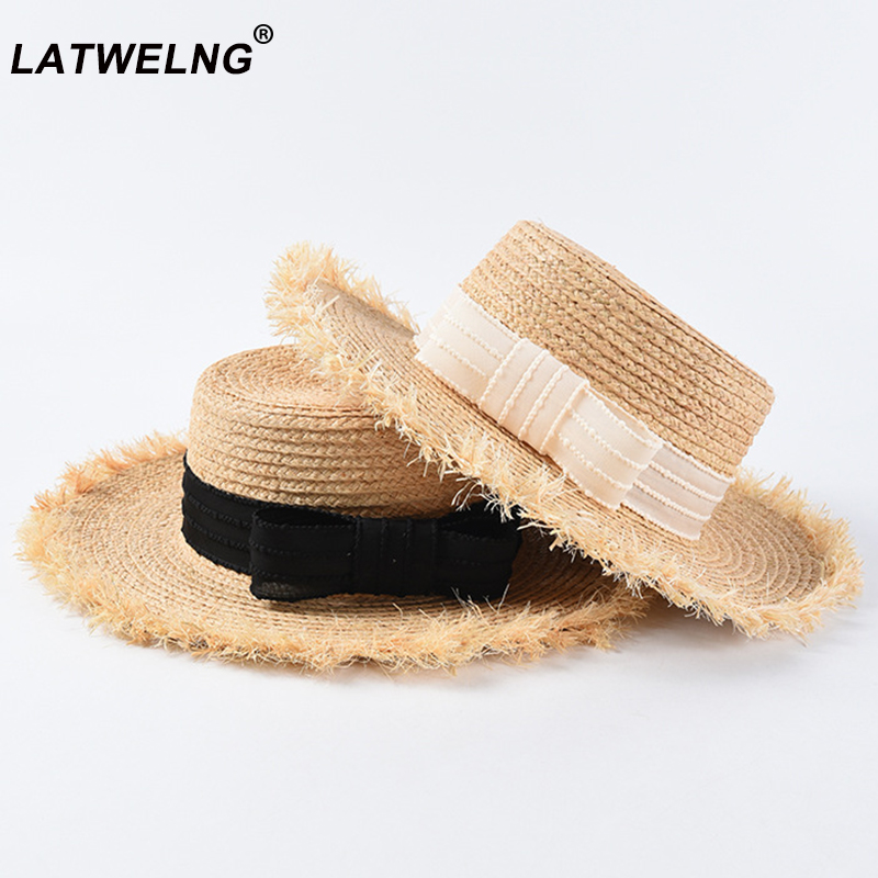 2019 New Women Raffia Hats With Elegant Bow Korean Straw Hat Female Flat Top Panama Hat UV Protection Summer Holiday Hats