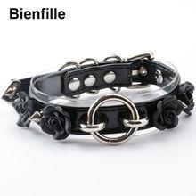 Ожерелье чокер женский панк готический Цветок 100% ручная работа 2 слоя прозрачный ПВХ PU кожаное ожерелье ошейник 6 видов цветов