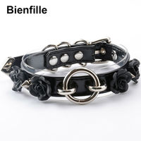 Choker Necklace Women Punk Gothic Flower O Ring 100 Handmade 2 Layer Clear PVC PU Leather