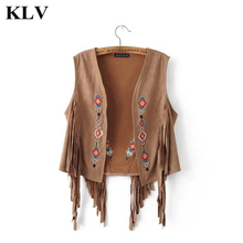 Fashion Women Boho Chamois Embroidered Floral Tassel Short Vest Artificial Leather Cardigan Outwear Cowgirl National Coat Aug30