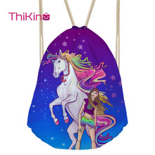 Thikin Unicorn Backpack for Teenager Kids Casual Sack Mini Toddler Softback Girls Beach Mochila DrawString Bag