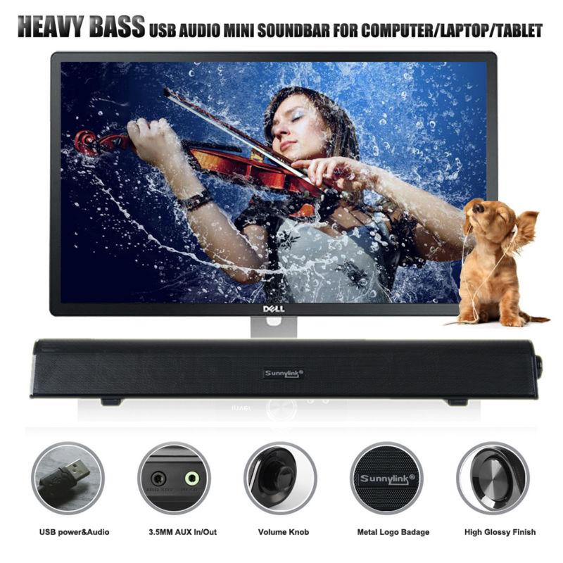 NEW PATENT HEAVY BASS USB SOUNDBAR SPEAKER USB DIGITAL AUDIO SOUND BAR ONE CABLE FOR POWER BEST FOR COMPUTER /SMALL TV