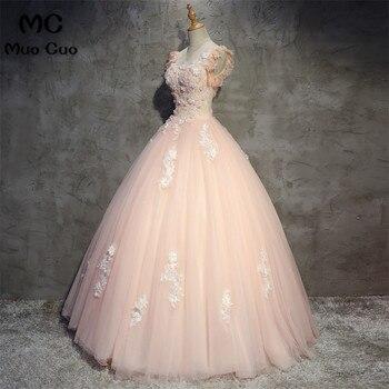 1b74244916 2018 elegante Peach Quinceanera Vestidos Puffy Tulle con encaje Vestidos De  15 Anos dulce 16 Vestidos Debutante