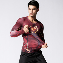 2016Men Fashion Compression Shirt Flash Cosplay Costume Quick Dry Fitness Clothing 3d Print T shirt Plus