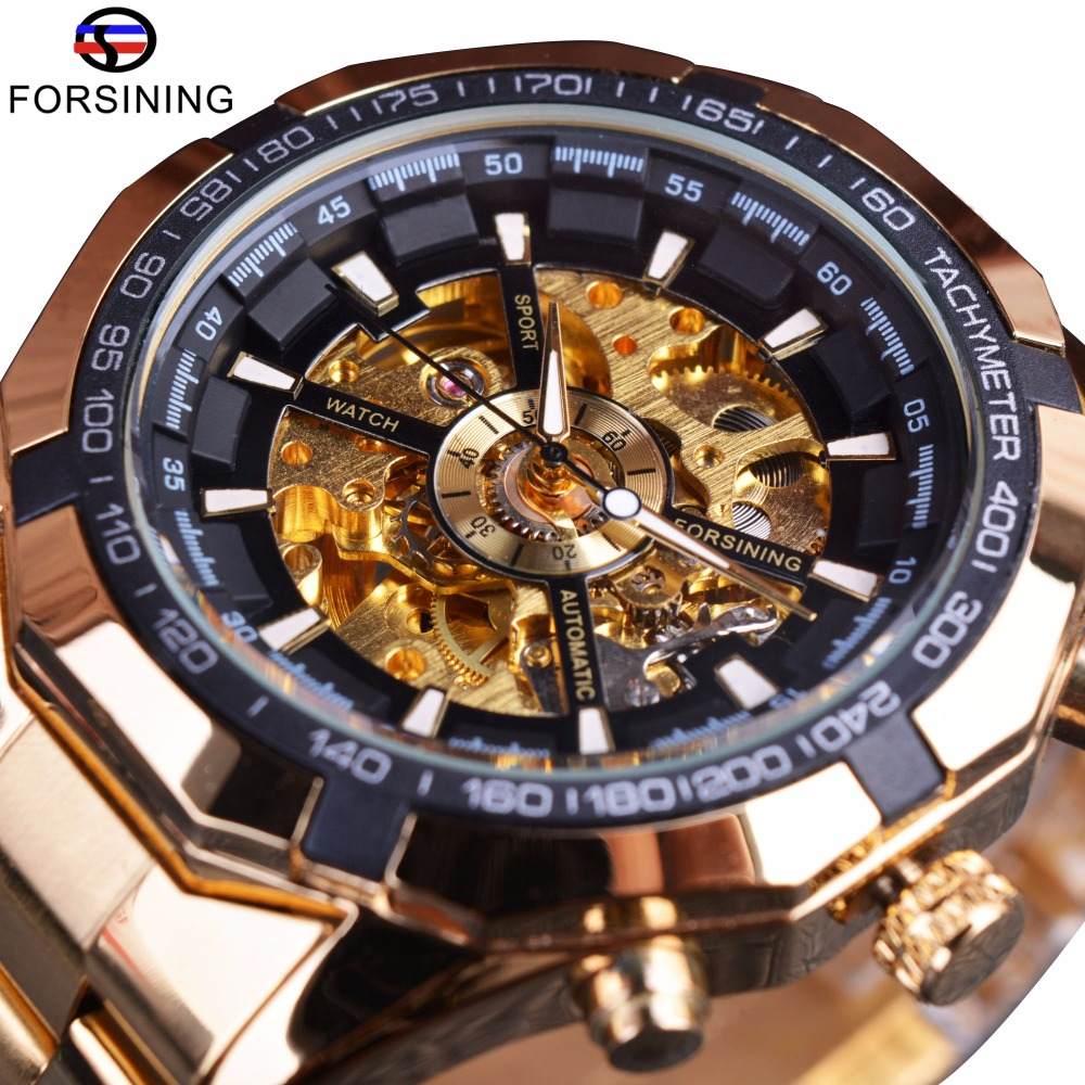 Full Golden Men Mechanical Skeleton Sport Watch Designer Casual Clock Men