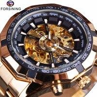 Forsining זהב מלא יוקרה גברים שעונים למעלה מותג מעצב אופנה גברים מכאני שלד שעונים גברים ספורט שעון מקרית