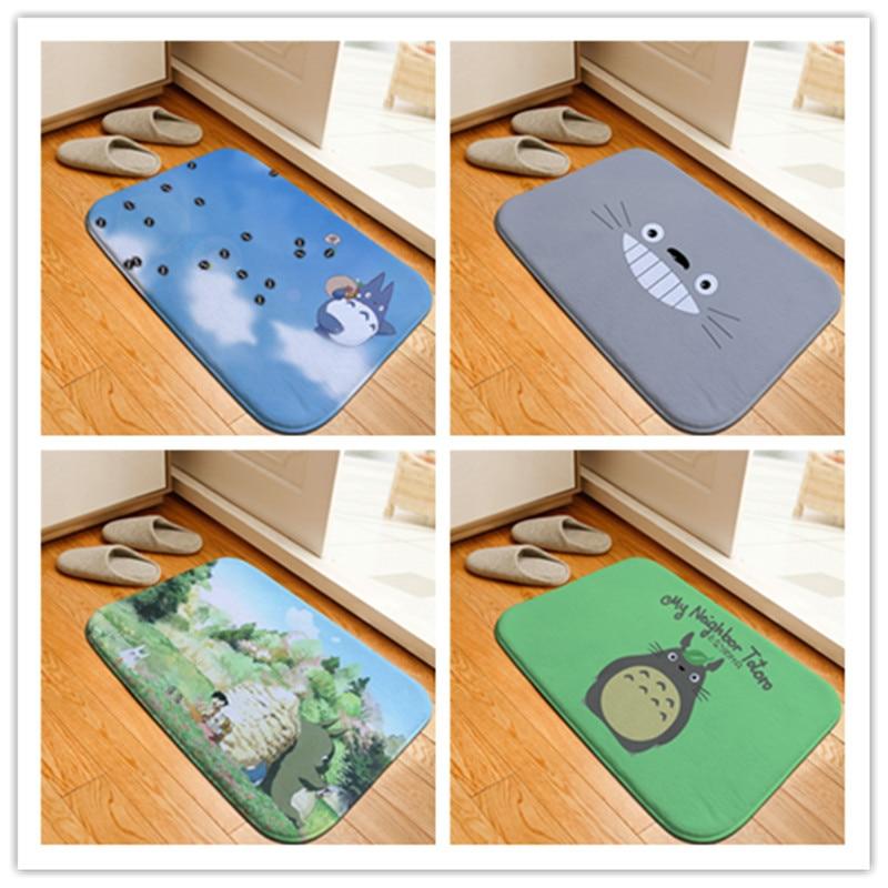Cartoon Totoro Printed Floor Mats Anti-slip Rugs Anime Pattern Figure Carpets Welcome Doormat Bathroom Carpet Kitchen Mat