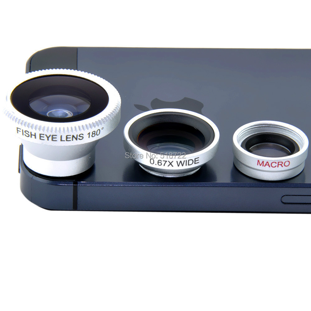 3 in 1 Fisheye Lens+ Wide Angle + Micro Lens photo camera