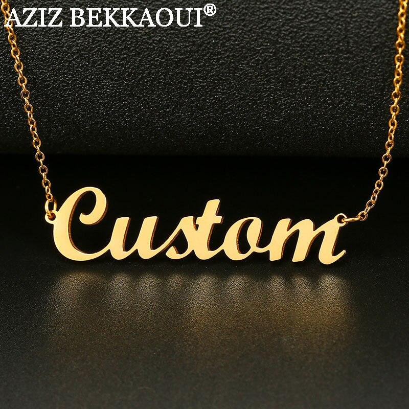 AZIZ BEKKAOUI nombre collar de acero inoxidable personalizado collares para mujeres estilo Simple COLLAR COLGANTE Dropshipping. exclusivo.