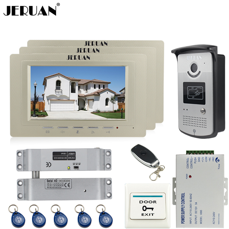JERUAN Wired 7 inch LCD video door phone Entry intercom system kit Aluminum panel 700TVL RFID Access IR Night Vision Camera striped rib insert button up denim jacket