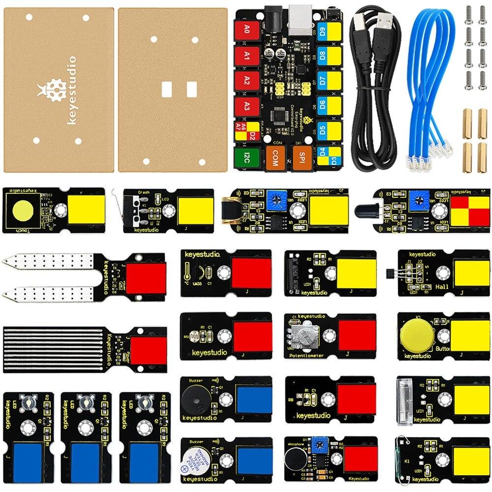 Keyestudio RJ11 EASY-Plug Starter Learning Kit For Arduino STEAM (21pcs Modules)