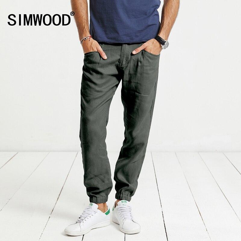 SIMWOOD 2017 Autumn  Casual Harem Pants Men 100% Pure Linen Thin Drawstring Casual Ankle-Length  Trousers KX5556