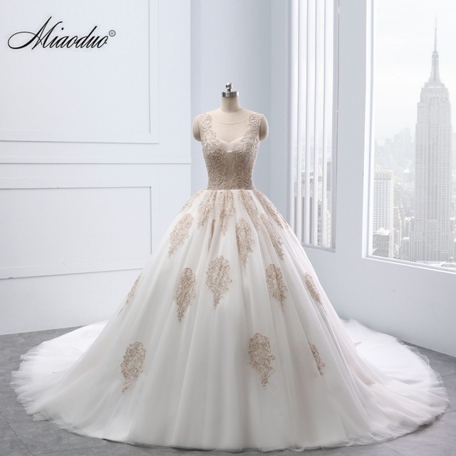 Miaoduo Applique Lace Pearls Ball Gown 2018 New Vintage Wedding ...
