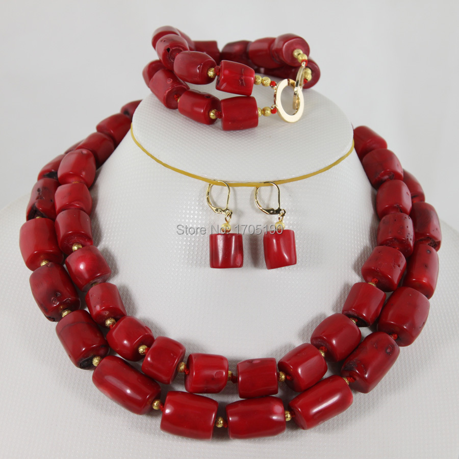 Beautiful African Coral Beads Jewelry Set Charming Red Bridal Coral Necklace Set For Wedding/Party Jewelry Set Free Ship CB003 allure charming party magic set