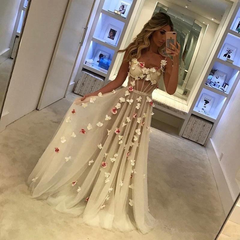 vestido longo Chic   Evening   Gown robe de soiree Floral Formal   Dresses   Sheer Custom Made Long   Evening     Dress   Tule Sleeveless abiye
