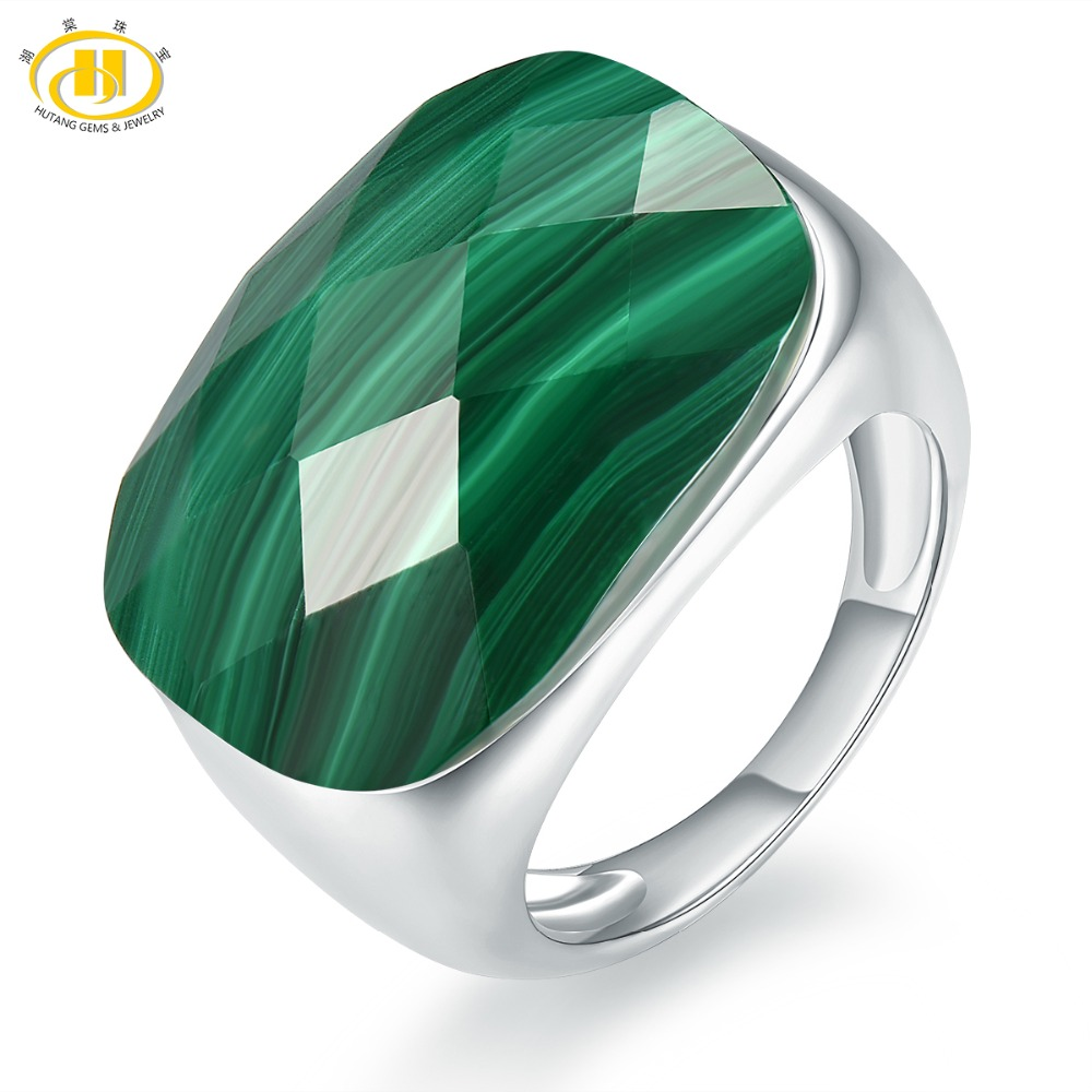 Hutang Malachite Engagement Rings Checkerboard Cut Natural Gemstone Solid 925 Sterling Silver Ring Men Women Fine