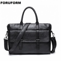 Men's Leather bag Men's Business Briefcase Work Shoulder Bag 2018 Fashion Laptop Handbags for Male Messenger Bags LI 2168
