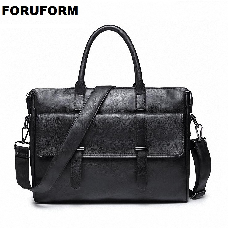 Men's Leather Bag Men's Business Briefcase Work Shoulder Bag 2019 Fashion Laptop Handbags For Male Messenger Bags LI-2168