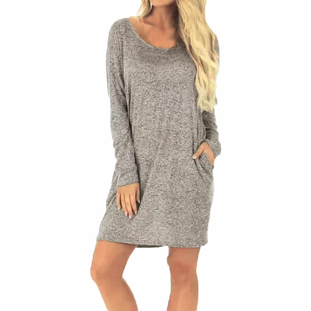 d16da2b53a70 Detail Feedback Questions about summer dress women Ladies Casual Solid  Backless Pocket Long Sleeve Loose Above Knee Dress on Aliexpress.com |  alibaba group