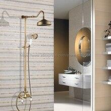 Antique Brass Shower Faucet Set 8 Inch Shower Head Hand Shower Sprayer W/ Hand Shower Wall Mounted Mixer Tap Nan507 polished chrome led rain shower head valve mixer tap w hand shower sprayer
