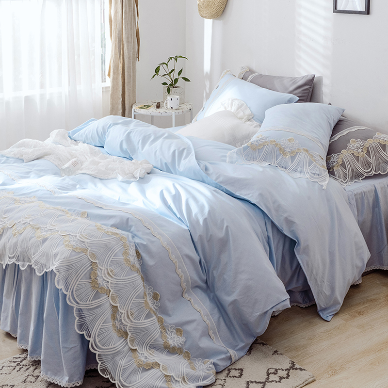 Blue Princess Lace Bedding set King Queen Twin size Girls Bed set Solid Soft Bed sheet Duvet cover set Bed skirt parure de litBlue Princess Lace Bedding set King Queen Twin size Girls Bed set Solid Soft Bed sheet Duvet cover set Bed skirt parure de lit