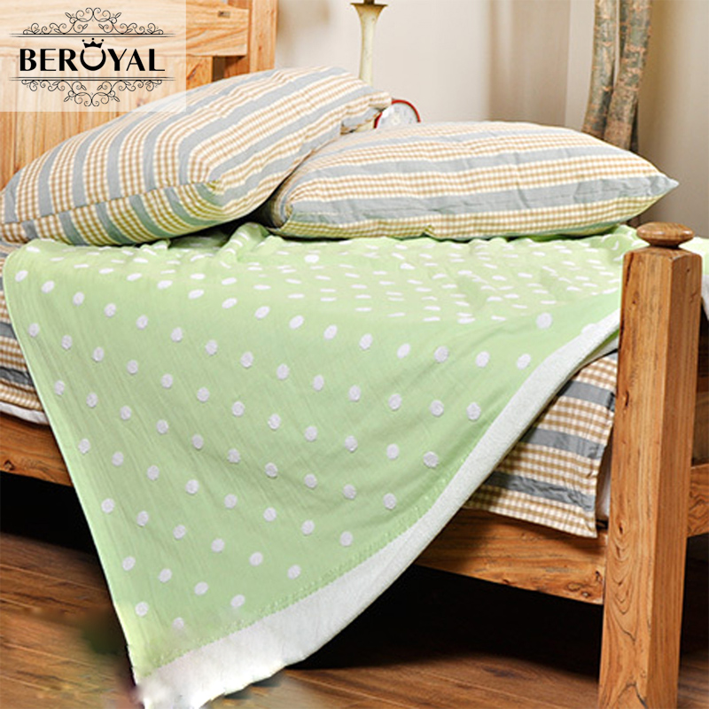 Beroyal Brand Throw Blanket-1piece 140*190cm Cotton Gauze Terry Blankets Super Soft Dotted Adult Blanket 140*190cm new 2017 throw blanket 1piece 140 190cm cotton gauze terry blankets super soft dotted adult blanket 140 190cm brand