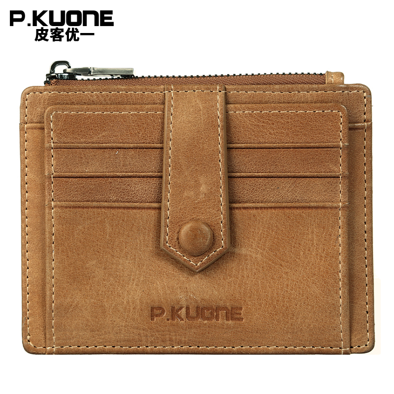 P.KUONE Men Small Money Bag Key Housekeeper Genuine Leather Credit Card Holder Wallet Passport Cover Travel Coin Purse Business men s purse long genuine leather clutch wallet travel passport holder id card bag fashion male phone business handbag