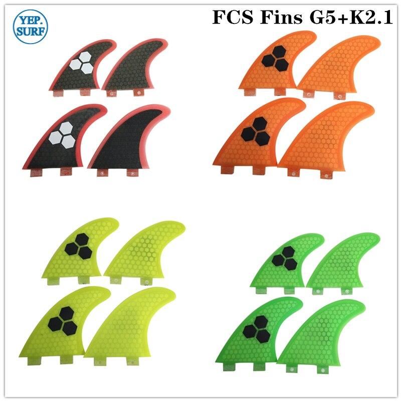 Fins FCS Yellow G5+K2.1 Surf Quad Fin Fibreglass FCS Surf Fin Quilhas