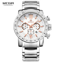 送料無料 3008 Megir ファッションクォーツ時計の男性防水発光腕時計メンズ大型ダイヤルの腕時計