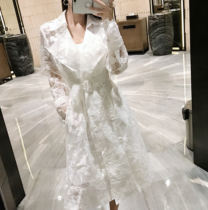 Womens Embroidery Flowers Lapel White Belt Trench Coat Outwear White Lace Hollow Out Overcoat X23