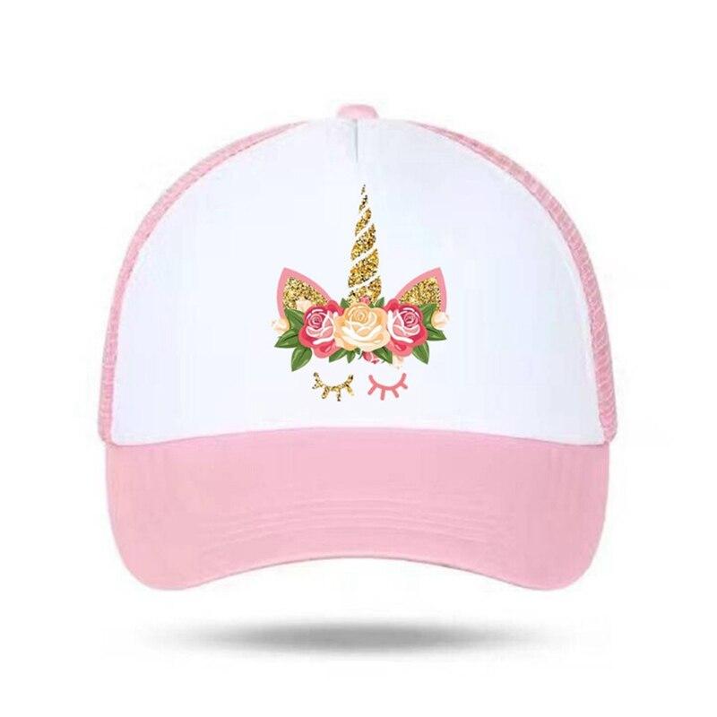 Children Summer Cap Unicorn Snapbacks Hat For Girls Baseball Hats Women Sun Stop Travel Mesh Kids Caps