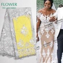 Нигерийский белый цвет вышивка кружева свадебное платье ткани высокого качества красивый вышитый гипюр Тюль сетчатый кружевной материал