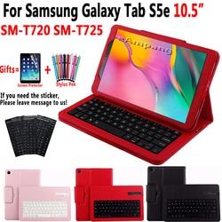 Odłączyć etui z klawiaturą na bluetooth dla Samsung Galaxy Tab S5e 10.5 2019 SM-T720 SM-T725 T720 T725 klawiatura pokrywa Funda + Film + długopis